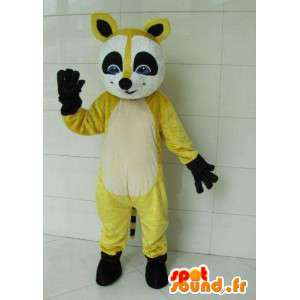 Fox raccoon mascot yellow and black with black gloves