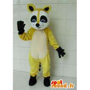 Vos wasbeer mascotte geel en zwart wasbeer met zwarte handschoenen