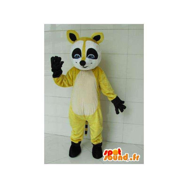 αλεπού ρακούν μασκότ κίτρινο και μαύρο ρακούν με μαύρα γάντια - MASFR00727 - Fox Μασκότ