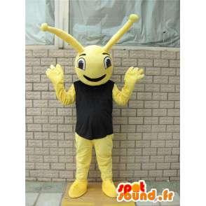 Żółta maskotka owad z czarnym t-shirt w stylu lasu mrówki - MASFR00728 - Ant Maskotki