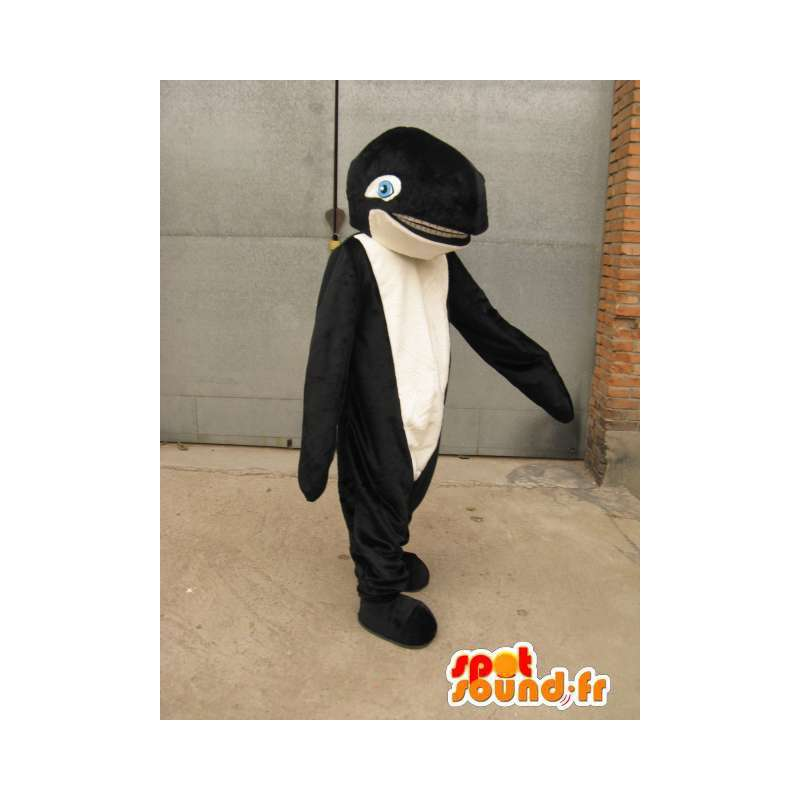 Černá a bílá velryba spermie maskot s modrýma ploutví a oči - MASFR00730 - Maskoti oceánu