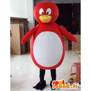 Punainen pingviini maskotti ja tyyli valkoinen ankka / lintu