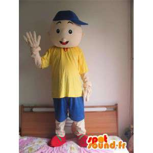 Maskot bruslař chlapec s modrým kloboukem a oblečení