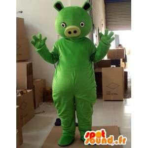 Mascotte de monstre vert style cochon - Costume de fête