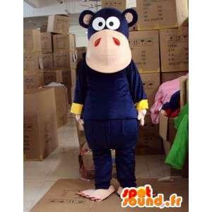 Mascotte de singe bleu foncé - Facilement personnalisable