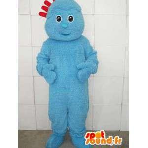 Blau Maskottchen Kostüm Troll mit roten Kamm - Modell 2