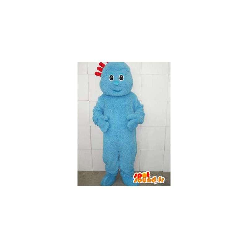 Modrý oblek troll maskot s červeným hřebenem - Model 2 - MASFR00736 - Maskoti 1 Sesame Street Elmo
