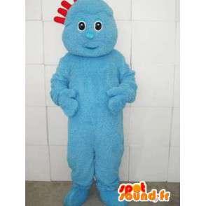 Azul mascote terno trolls com crista vermelha - modelo 2 - MASFR00736 - Mascotes 1 Sesame Street Elmo