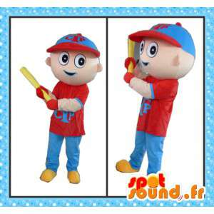Mascot baseball player with all accessories