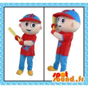 Mascote jogador de beisebol com todos os acessórios