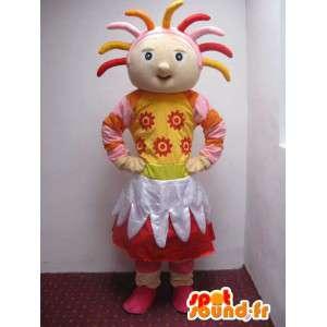 Mascotte fille de la campagne tout en couleur avec accessoires