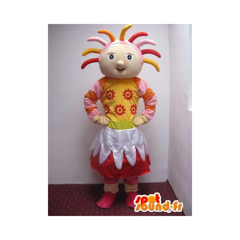 A todo color de la mascota del país chica con accesorios - MASFR00738 - Chicas y chicos de mascotas