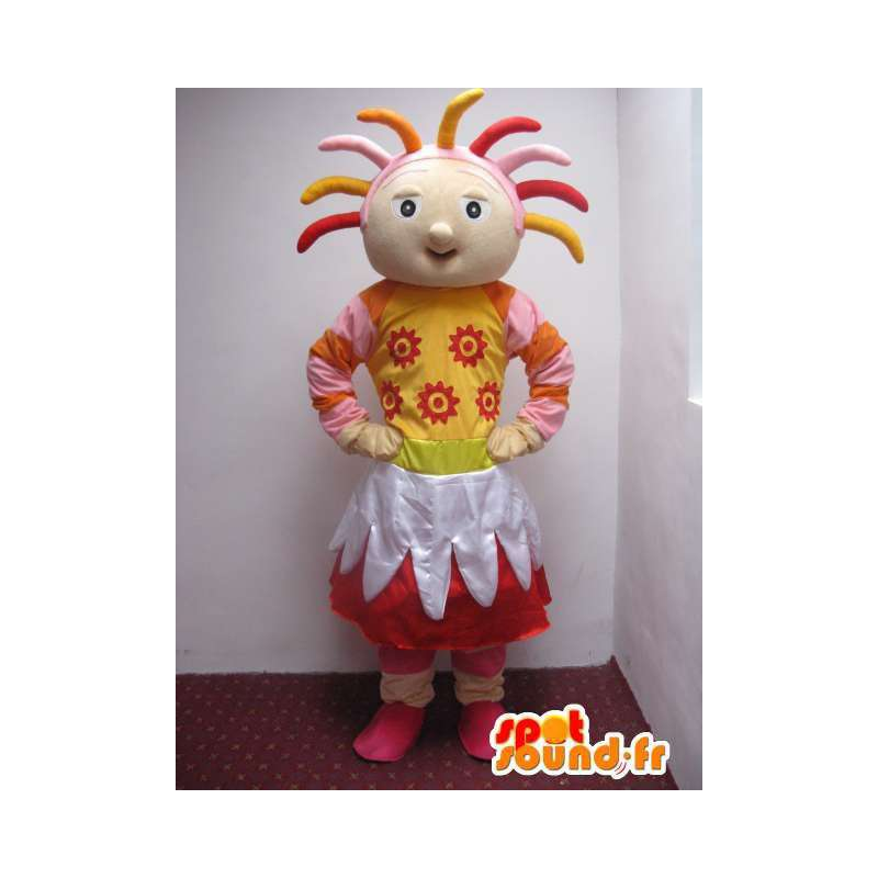 Mascot Mädchen vom Land voller Farbe und mit Zubehör - MASFR00738 - Maskottchen-jungen und Mädchen