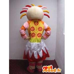 Mascotte fille de la campagne tout en couleur avec accessoires - MASFR00738 - Mascottes Garçons et Filles