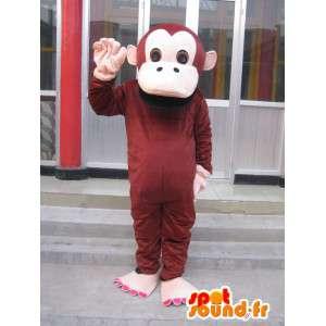 Mascotte singe simple marron avec gants beiges - Personnalisable