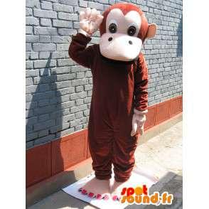 Mascotte singe simple marron avec gants beiges - Personnalisable - MASFR00739 - Mascottes Singe