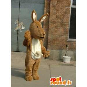 Mascotte de kangourou beige et blanc pour fêtes événementielles