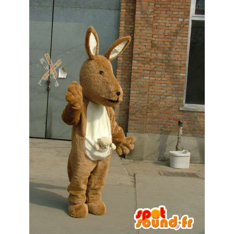 Beżowy i biały kangur maskotka na obchodach zdarzeń - MASFR00740 - maskotki kangur