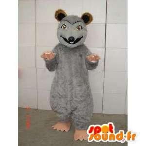 Mascotte de souris grise avec teinte marron et beige en peluche