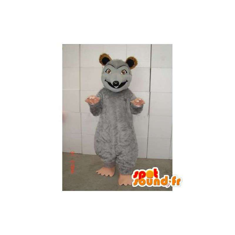 γκρι μασκότ ποντίκι με καφέ και μπεζ χρώμα βελούδινα - MASFR00741 - ποντίκι μασκότ