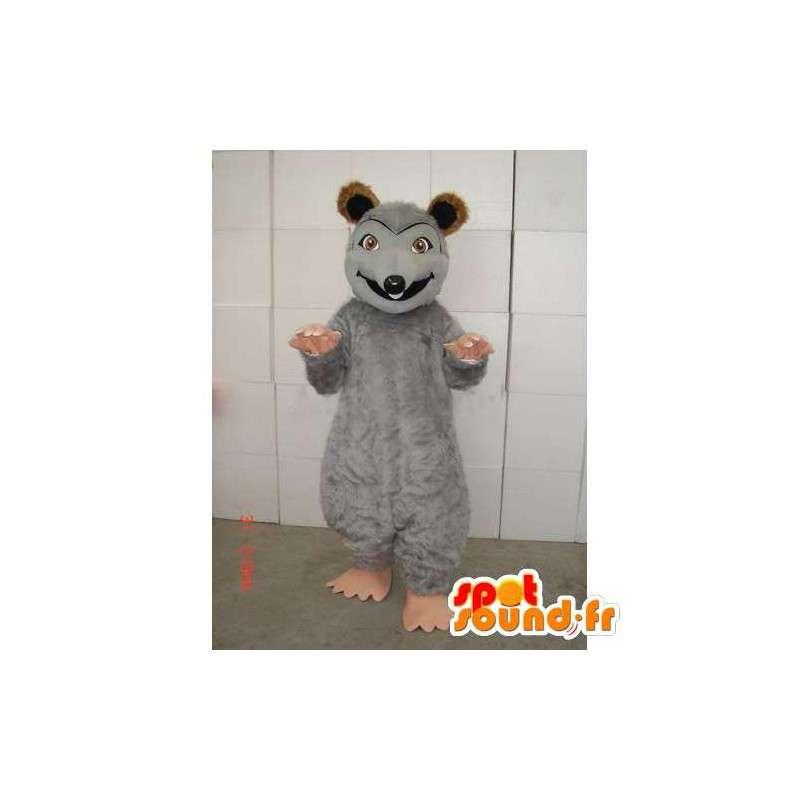 Mascot ratón gris con marrón del color y de la felpa de color beige - MASFR00741 - Mascota del ratón