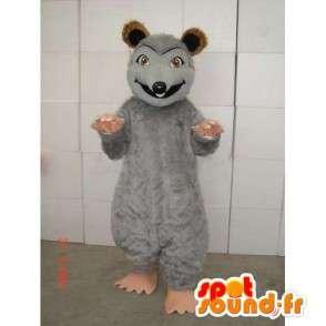 Mascotte de souris grise avec teinte marron et beige en peluche - MASFR00741 - Mascotte de souris