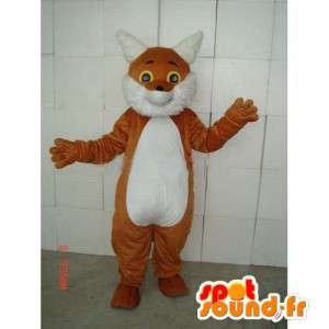 Brown and white cat mascot with all accessories