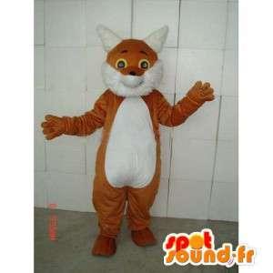 Mascotte chat marron et blanc avec l'ensemble des accessoires