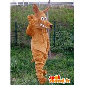 Mascotte de renard en tissu style loup en peluche marron