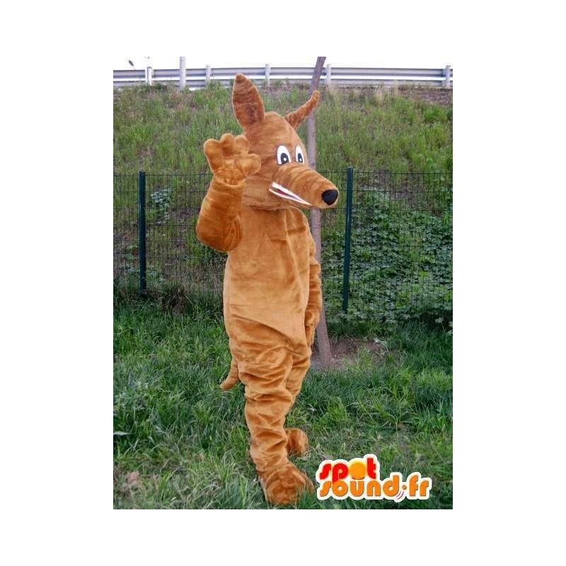 ύφασμα στυλ αλεπού λύκος μασκότ βελούδου καφέ - MASFR00743 - Wolf Μασκότ