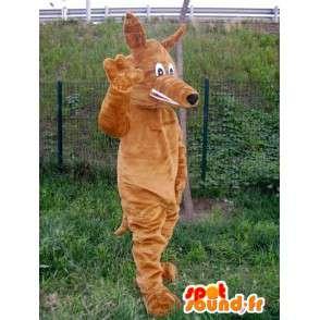 ファブリックスタイルキツネオオカミのマスコットぬいぐるみブラウン - MASFR00743 - ウルフマスコット