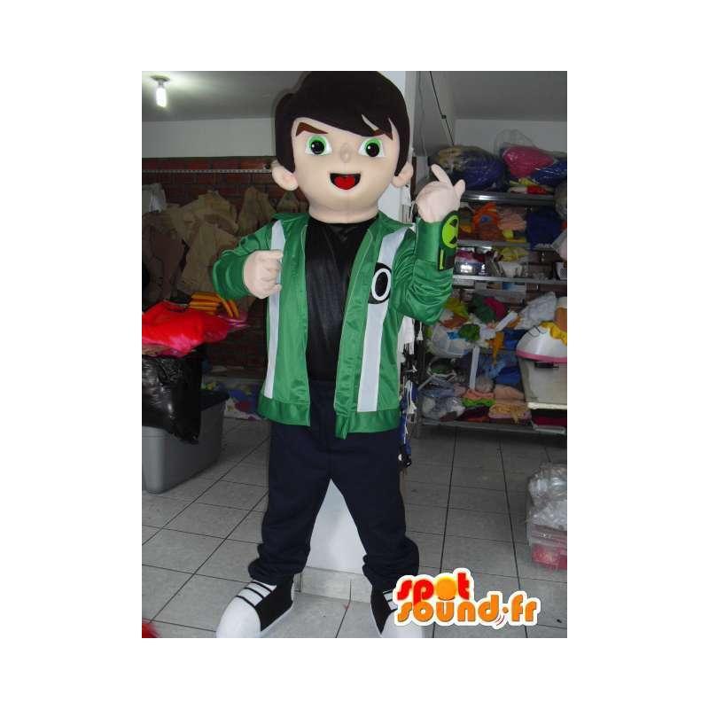 Μασκότ αγόρι αρκούδα με πράσινο σακάκι και κεντήματα - MASFR00744 - Μασκότ Αγόρια και κορίτσια