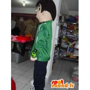 Mascot drengesupporter med grøn jakke og broderi - Spotsound