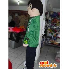 Mascot jongen beer met groene jas en borduurwerk - MASFR00744 - Mascottes Boys and Girls