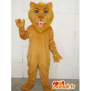 Mascotte lion beige avec accessoires - Costume de la savane