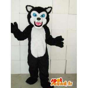 Mascotte de félin style chat noir et blanc avec yeux bleus