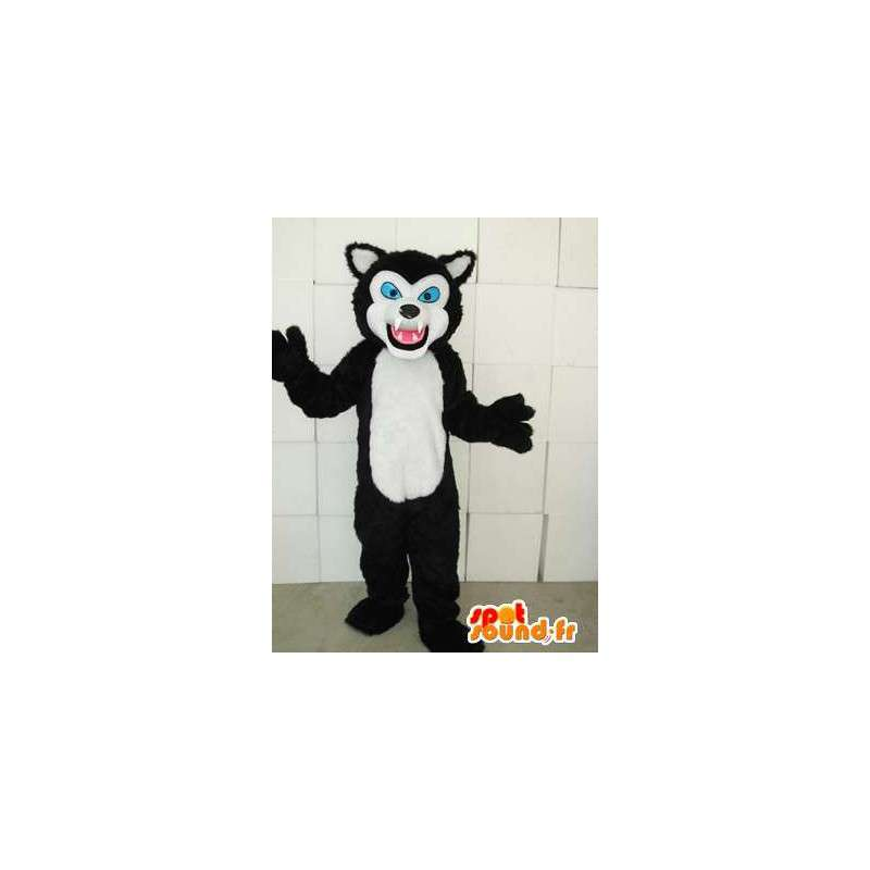 αιλουροειδών στυλ μασκότ μαύρο και άσπρο γάτα με τα μπλε μάτια - MASFR00746 - Γάτα Μασκότ