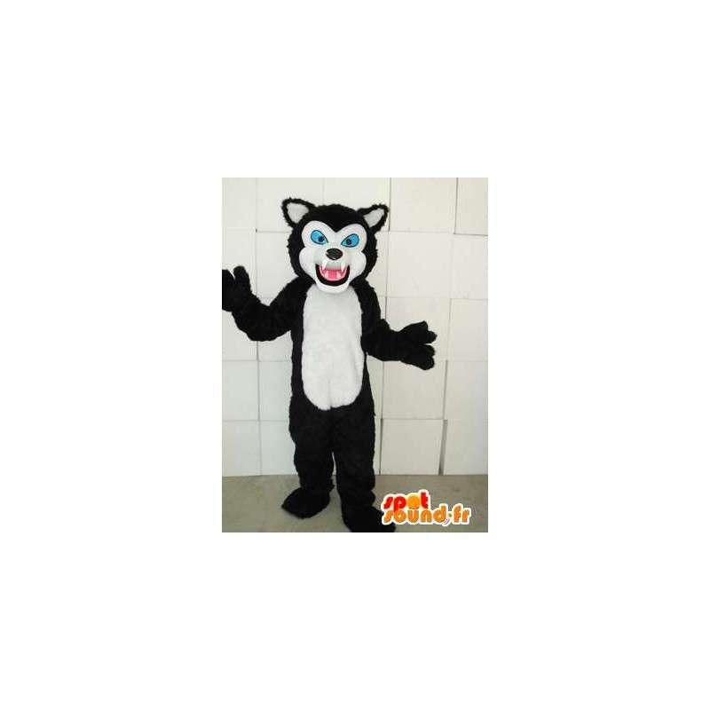 Katachtige mascotte stijl zwart-witte kat met blauwe ogen - MASFR00746 - Cat Mascottes