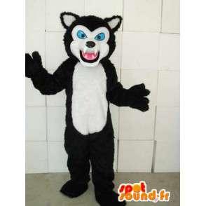 Mascotte de félin style chat noir et blanc avec yeux bleus - MASFR00746 - Mascottes de chat