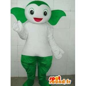 Pokemon maskot styl zelené a bílé ryby pod vodou