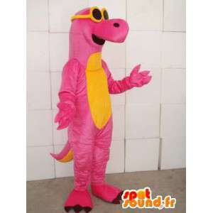 Dinosaur mascot pink and yellow with yellow glasses