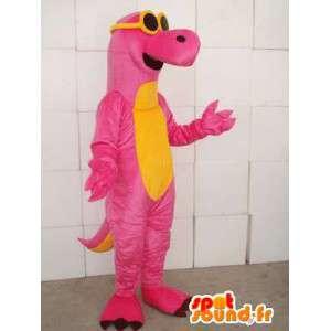 Mascotte dinosauro rosa e giallo con gli occhiali gialli