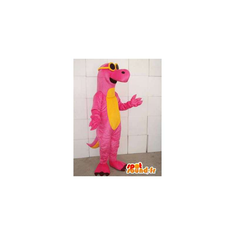 Dinosaur mascot pink and yellow with yellow glasses - MASFR00748 - Mascots dinosaur