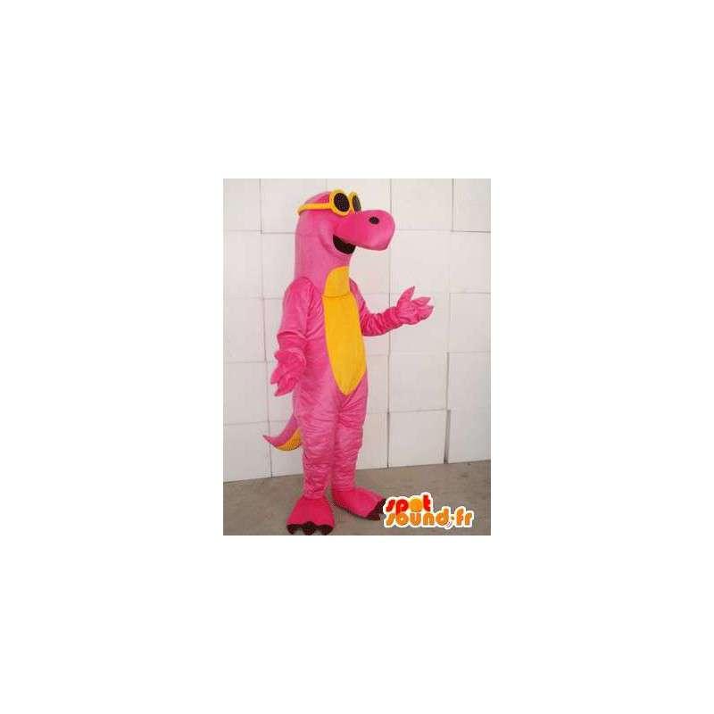 Mascotte dinosauro rosa e giallo con gli occhiali gialli - MASFR00748 - Dinosauro mascotte