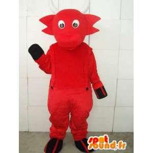 Maskot kozorožec červený ďábel s rohy a bílé kombinézy