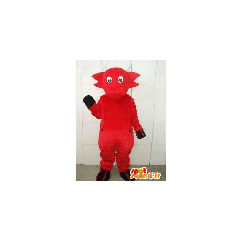 Maskottchen Ziege roten Teufel Hörner und weißen Overall - MASFR00750 - Ziegen und Ziege-Maskottchen