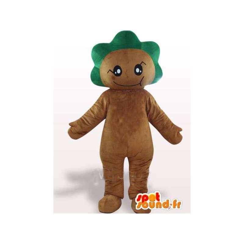 緑の葉の紋章付きマスコットの森 - お祝いのコスチューム - MASFR00753 - 森の動物