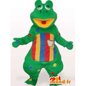Green frog mascot and colorful striped - Customizable
