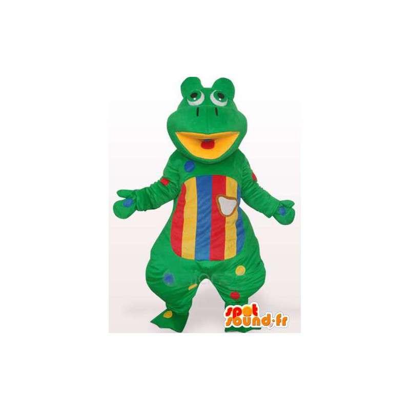 Mascot bunten grünen Frosch und gestreift - Anpassbare - MASFR00754 - Maskottchen-Frosch