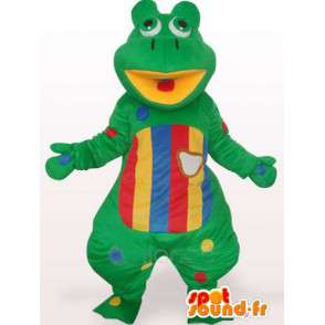 Green frog mascot and colorful striped - Customizable - MASFR00754 - Mascots frog